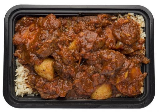 Beef stew over white rice